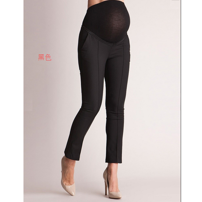 belly-supporting-pregnant-women's-pants-black