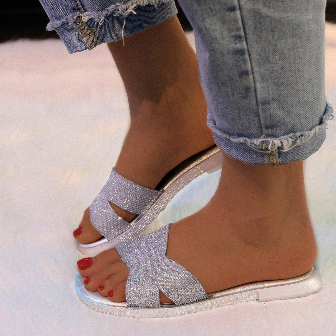 sequins-water-drill-flat-sandals-silver